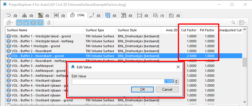 Edit Cut and Fill Factors